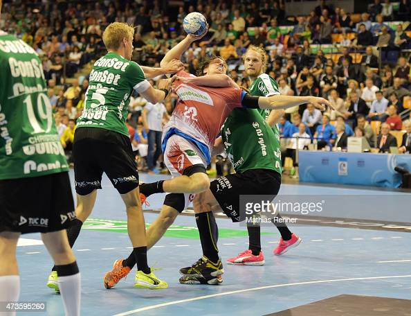 Lasse Mikkelsen of Skjern Handbold and Kentin Mah of HSV Handball during the game between Skjern Handbold and HSV Hamburg on may 16 2015 in Berlin...