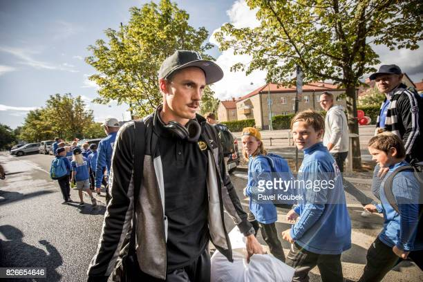 Lasse Nilsson of IF Elfsborg arrives to the arena during the Allsvenskan match between Orebro SK and IF Elfsborgs at Behrn Arena on August 5 2017 in...