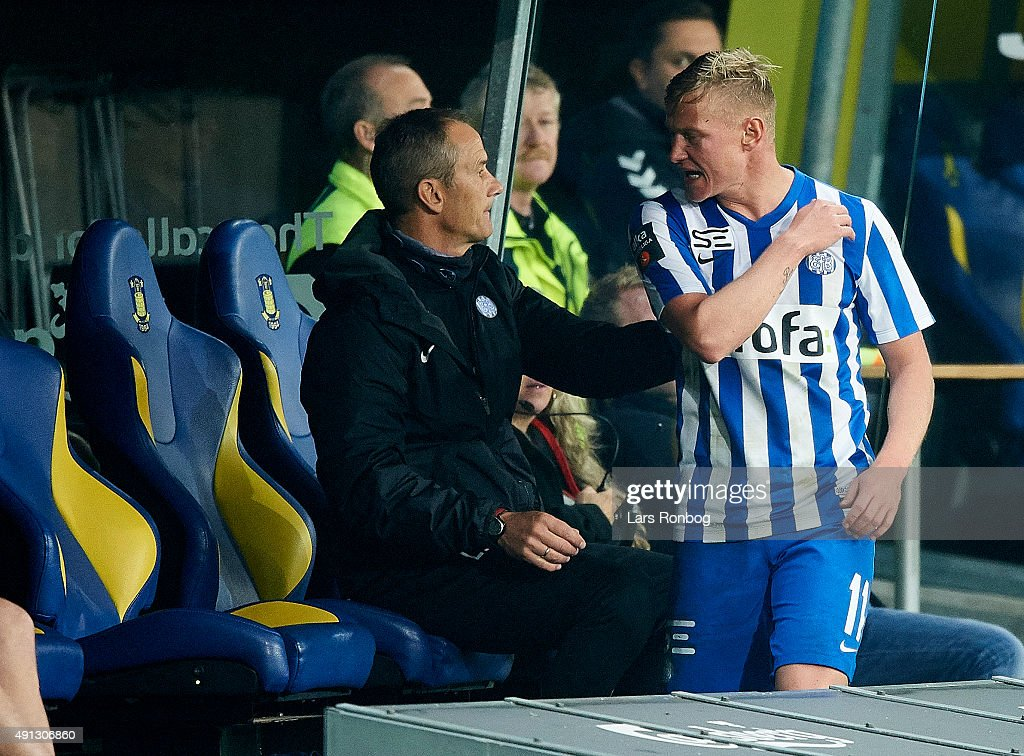 Lasse Rise of Esbjerg fB shows frustration on the bench during the Danish Alka Superliga match between Brondby IF and Esbjerg fB at Brondby Stadion on October 4, 2015 in Brondby, Denmark.