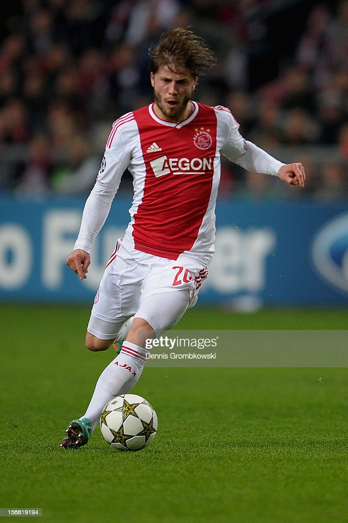 Lasse Schoene of Amsterdam controls the ball during the UEFA Champions League Group D match between Ajax Amsterdam and Borussia Dortmund at Amsterdam Arena on November 21, 2012 in Amsterdam, Netherlands.