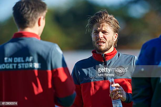 Lasse Schone in action during the Denmark training session at Helsingor Stadion on October 4 2016 in Helsingor Denmark