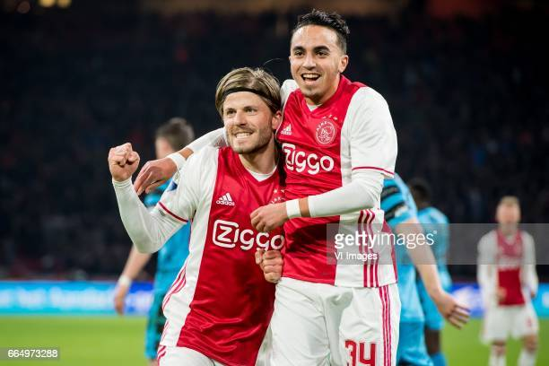 Lasse Schone of Ajax Abdelhak Nouri of Ajax 31during the Dutch Eredivisie match between Ajax Amsterdam and AZ Alkmaar at the Amsterdam Arena on April...