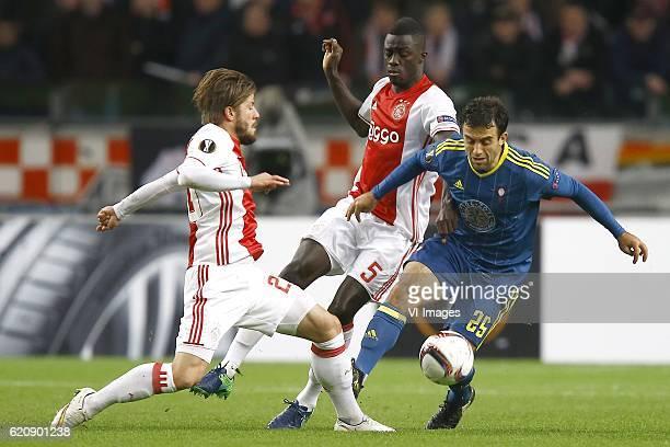 Lasse Schone of Ajax Amsterdam Davinson Sanchez of Ajax Amsterdam Giuseppe Rossi of Celta de Vigoduring the UEFA Europa League group G match between...