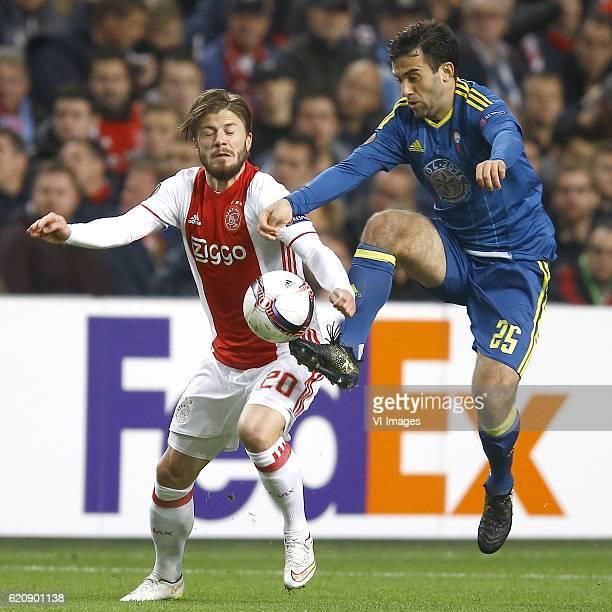 Lasse Schone of Ajax Amsterdam Giuseppe Rossi of Celta de Vigoduring the UEFA Europa League group G match between Ajax Amsterdam and Celta de Vigo at...