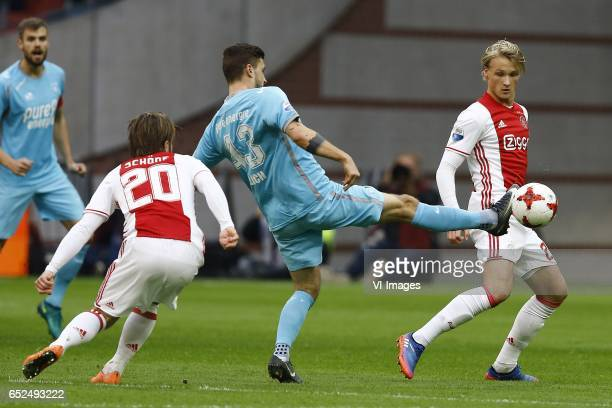 Lasse Schone of Ajax Amsterdam Mateusz Klich of FC Twente Kasper Dolberg of Ajax Amsterdamduring the Dutch Eredivisie match between Ajax Amsterdam...