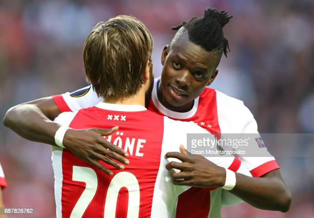 Lasse Schone of Ajax and Davinson Sanchez of Ajax embrace prior to the UEFA Europa League Final between Ajax and Manchester United at Friends Arena...