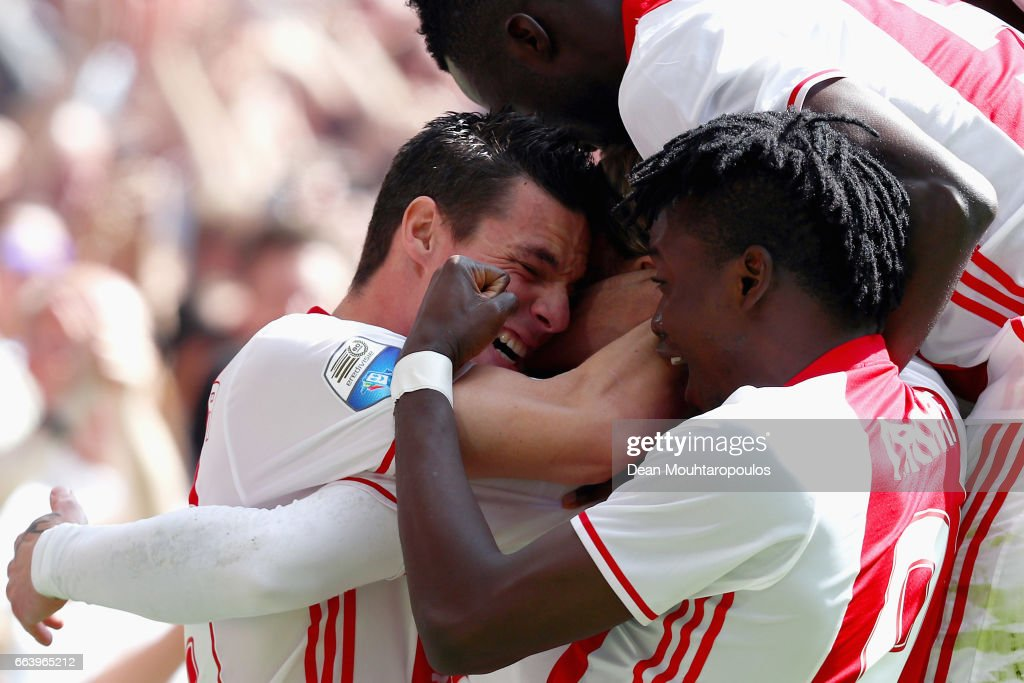 Lasse Schone of Ajax celebrates scoring his teams first goal of the game with team mates Nick Viergever, Bertrand Traore and Davinson Sanchez during the Dutch Eredivisie match between Ajax Amsterdam and Feyenoord at Amsterdam ArenA on April 2, 2017 in Amsterdam, Netherlands.