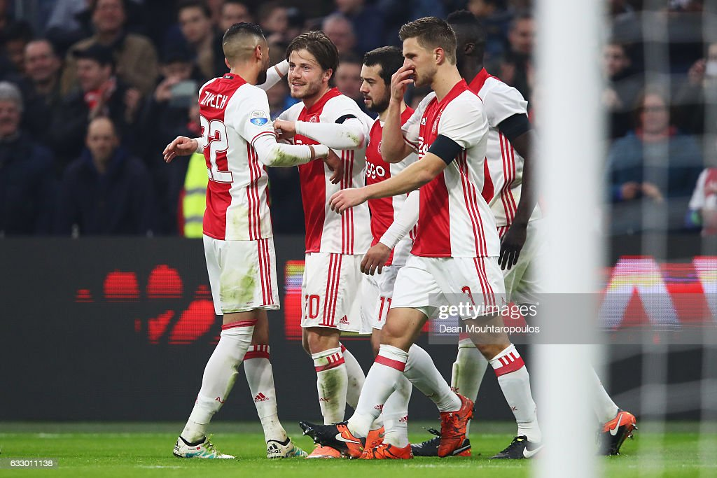 Lasse Schone of Ajax celebrates scoring his teams second goal of the game after he shoots and scores a goal direct from a free kick over the wall during the Eredivisie match between Ajax Amsterdam and ADO Den Haag held at Amsterdam Arena on January 29, 2017 in Amsterdam, Netherlands.