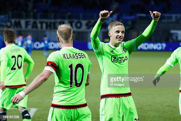 Lasse Schone of Ajax Davy Klaassen of Ajax Donny van de Beek of Ajax during the Dutch Eredivisie match between PEC Zwolle and Ajax Amsterdam at the...
