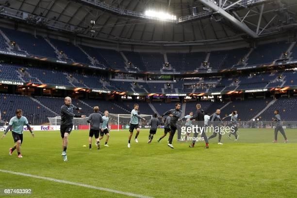 Lasse Schone of Ajax Davy Klaassen of Ajax Kasper Dolberg of Ajax Donny van de Beek of Ajax Kenny Tete of Ajax Amin Younes of Ajax Abdelhak Nouri of...