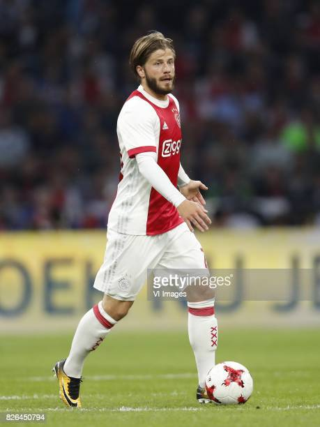 Lasse Schone of Ajax during the UEFA Champions League third round qualifying first leg match between Ajax Amsterdam and OGC Nice at the Amsterdam...