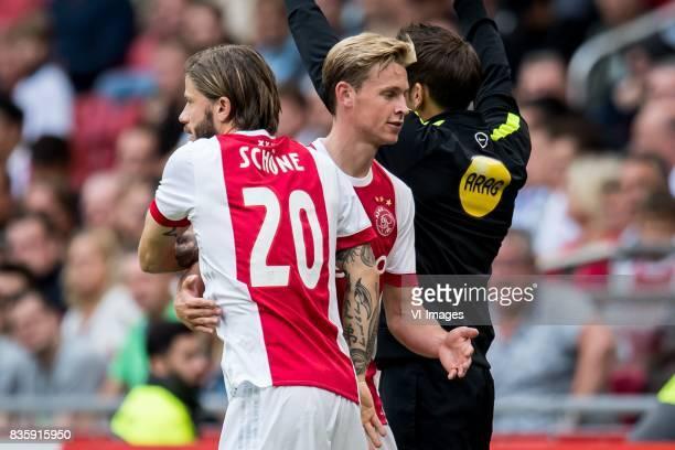 Lasse Schone of Ajax Frenkie de Jong of Ajax during the Dutch Eredivisie match between Ajax Amsterdam and FC Groningen at the Amsterdam Arena on...