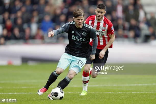 Lasse Schone of Ajax Gaston Pereiro of PSVduring the Dutch Eredivisie match between PSV Eindhoven and Ajax Amsterdam at the Phillips stadium on April...