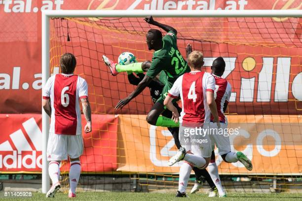Lasse Schone of Ajax goalkeeper Norbert Alblas of Ajax Lamine Sane of SV Werder Bremen Matthijs de Ligt of Ajax Davinson Sanchez of Ajax during the...