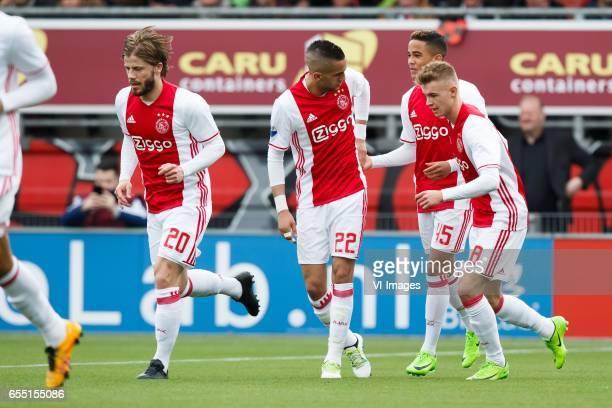 Lasse Schone of Ajax Hakim Ziyech of Ajax Justin Kluivert of Ajax Daley Sinkgraven of Ajaxduring the Dutch Eredivisie match between sbv Excelsior...