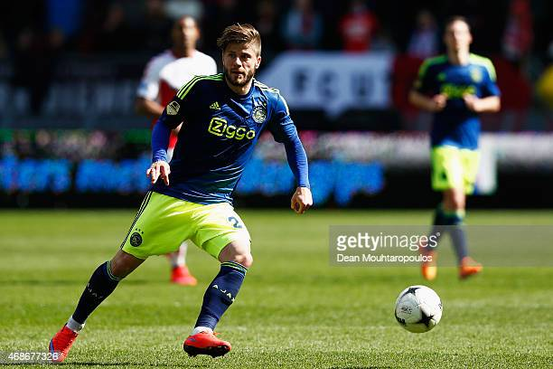 Lasse Schone of Ajax in action during the Dutch Eredivisie match between FC Utrecht and Ajax Amsterdam held at Stadion Galgenwaard on April 5 2015 in...