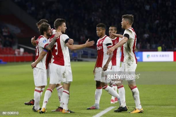 Lasse Schone of Ajax Joel Veltman of Ajax David Neres of Ajax Hakim Ziyech of Ajax Klaas Jan Huntelaar of Ajax during the Dutch Eredivisie match...