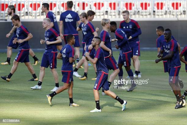 Lasse Schone of Ajax Joel Veltman of Ajax Donny van de Beek of Ajax Nick Viergever of Ajax Justin Kluivert of Ajax Frenkie de Jong of Ajax Hakim...