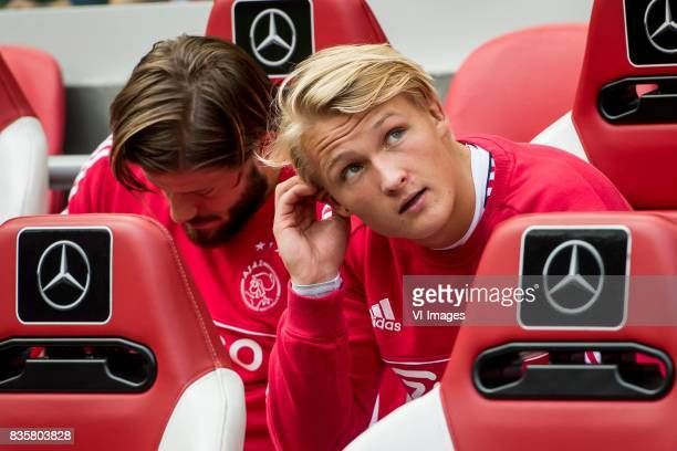 Lasse Schone of Ajax Kasper Dolberg of Ajax during the Dutch Eredivisie match between Ajax Amsterdam and FC Groningen at the Amsterdam Arena on...