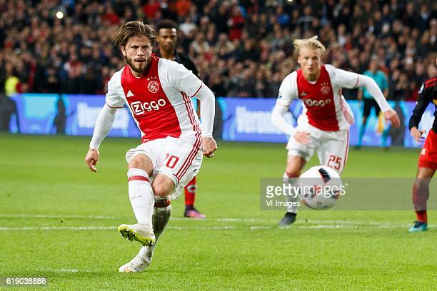 Lasse Schone of Ajax Kasper Dolberg of Ajaxduring the Dutch Eredivisie match between Ajax Amsterdam and sbv Excelsior at the Amsterdam Arena on...