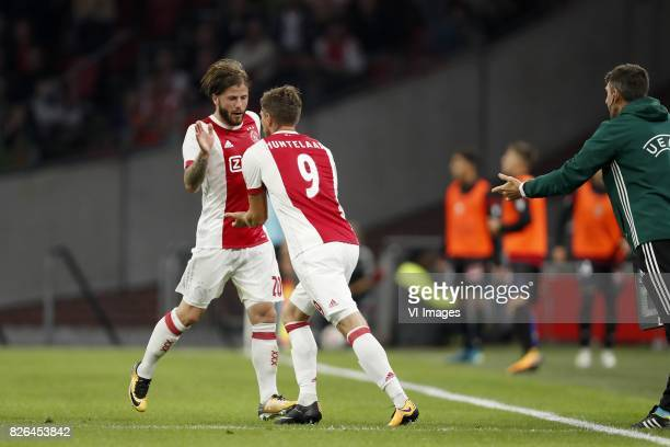 Lasse Schone of Ajax Klaas Jan Huntelaar of Ajax during the UEFA Champions League third round qualifying first leg match between Ajax Amsterdam and...