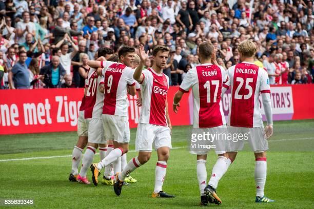 Lasse Schone of Ajax Klaas Jan Huntelaar of Ajax Joel Veltman of Ajax Vaclav Cerny of Ajax Kasper Dolberg of Ajax 31 during the Dutch Eredivisie...