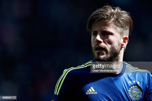 Lasse Schone of Ajax looks on during the Dutch Eredivisie match between FC Utrecht and Ajax Amsterdam held at Stadion Galgenwaard on April 5 2015 in...