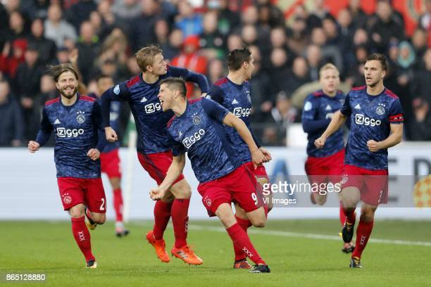 Lasse Schone of Ajax Matthijs de Ligt of Ajax aj0 Maximilian Wober of Ajax Donny van de Beek of Ajax Joel Veltman of Ajax during the Dutch Eredivisie...
