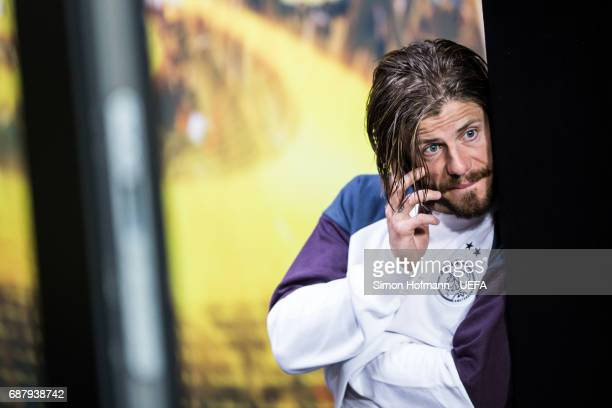 Lasse Schone of Ajax reacts in the player's tunnel after the UEFA Europa League Final between Ajax and Manchester United at Friends Arena on May 24...