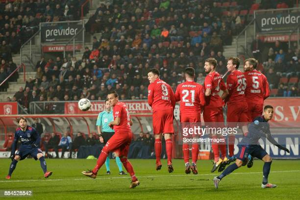 Lasse Schone of Ajax scores the second goal to make it 02 during the Dutch Eredivisie match between Fc Twente v Ajax at the De Grolsch Veste on...
