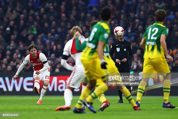 Lasse Schone of Ajax shoots and scores a goal direct from a free kick over the wall during the Eredivisie match between Ajax Amsterdam and ADO Den...