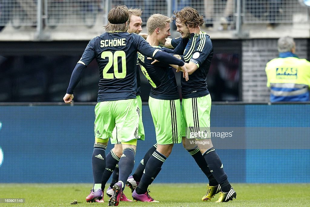 , Lasse Schone of Ajax, Toby Alderweireld of Ajax, Viktor Fischer of Ajax, Daley Blind of Ajax during the Dutch Eredivisie match between AZ Alkmaar and Ajax Amsterdam at the AFAS Stadium on march 17, 2013 in Alkmaar, The Netherlands