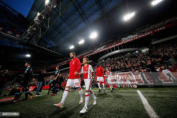Lasse Schone of Ajax walks out to play in the Eredivisie match between Ajax Amsterdam and PSV Eindhoven held at Amsterdam Arena on December 18 2016...