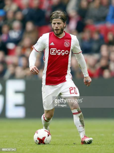 Lasse Schone of Ajaxduring the Dutch Eredivisie match between Ajax Amsterdam and sc Heerenveen at the Amsterdam Arena on April 16 2017 in Amsterdam...