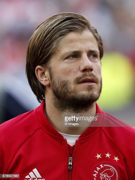 Lasse Schone of Ajaxduring the UEFA Europa League semi final match between Ajax Amsterdam and Olympique Lyonnais at the Amsterdam Arena on May 03...