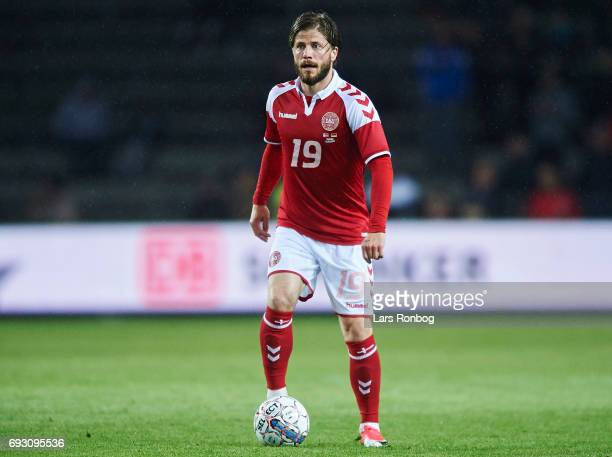 Lasse Schone of Denmark controls the ball during the international friendly match between Denmark and Germany at Brondby Stadion on June 6 2017 in...