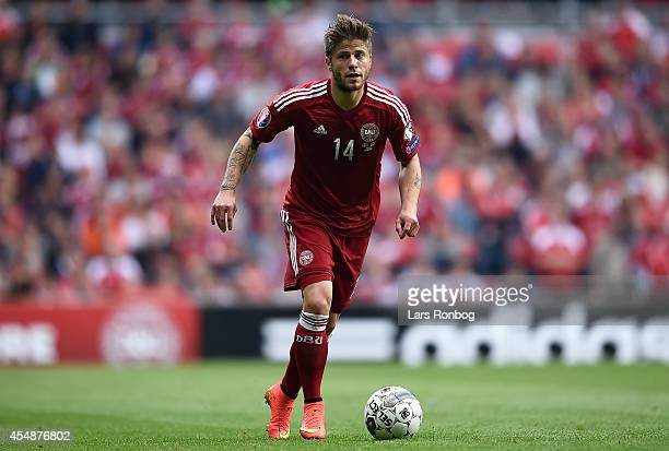 Lasse Schone of Denmark controls the ball during the UEFA 2016 Group I Qualifier between Denmark and Armenia at Parken Stadium on September 7 2014 in...