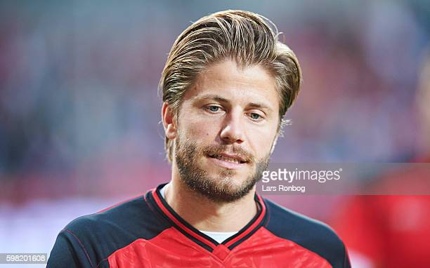 Lasse Schone of Denmark looks on prior to the international friendly match between Denmark and Liechtenstein at Casa Arena on August 31 2016 in...