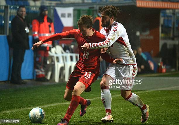 Lasse Schone of Denmark vies for a ball with Jan Kopic of Czech Republic during the friendly football match Czech Republic vs Denmark in Mlada...