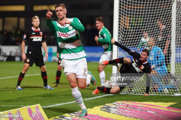 Lasse Sobiech of Greuther Fuerth celebrates his team's first goal during the Bundesliga match between SpVgg Greuther Fuerth and FC Augsburg at...
