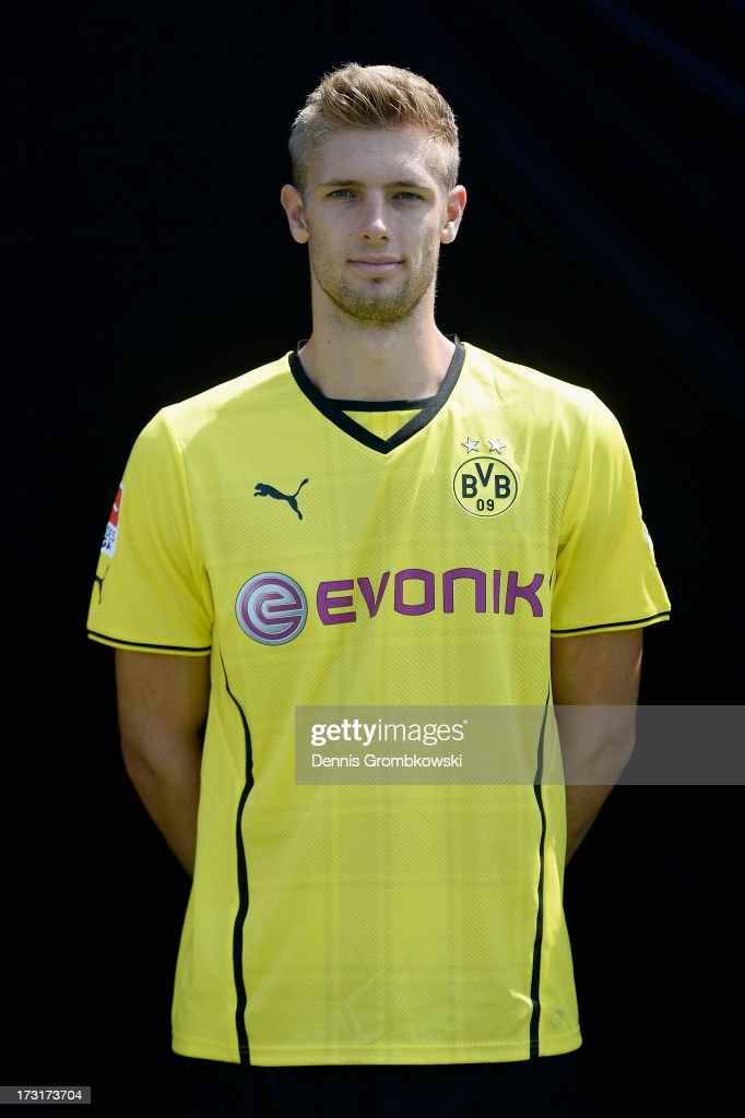 Lasse Sobiech poses during the Borussia Dortmund Team Presentation at Brackel Training Ground on July 9, 2013 in Dortmund, Germany.