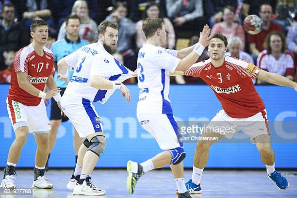 Lasse Svan of Denmark and Niclas Kirkelokke of Denmark defends during the BYGMA Cup 2017 match between Denmark and Island at Ceres Arena on January...