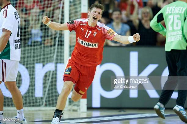 Lasse Svan of Denmark celebrate after goal during the European Championship Croatia 2018 Playoff match between Denmark and Hungary at Ceres Arena on...