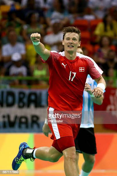 Lasse Svan of Denmark celebrates during the Mens Preliminary Group A match between Denmark and Argentina at the Future Arena on Day 2 of the Rio 2016...