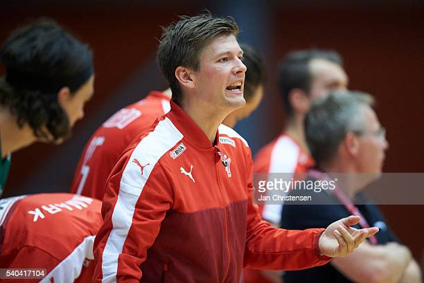 Lasse Svan of Denmark giving instructions from the bench during the World Championship France 2017 Playoff match between Denmark and Austria at...