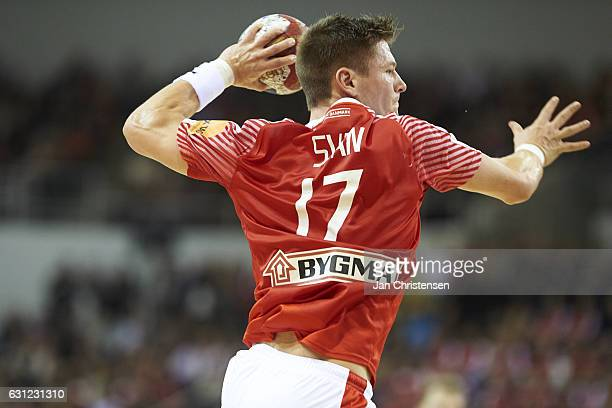 Lasse Svan of Denmark in action during the BYGMA Cup 2017 match between Denmark and Island at Ceres Arena on January 08 2017 in Arhus Denmark