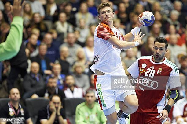 Lasse Svan of Denmark in action during the BYGMA Cup 2017 match between Denmark and Hungary at Gigantium on January 05 2017 in Aalborg Denmark