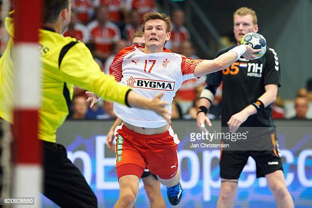 Lasse Svan of Denmark in action during the World Championship France 2017 Playoff match between Denmark and Holland at Brondby Hallen on November 03...