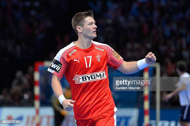 Lasse Svan of Denmark reacts during the 25th IHF Men's World Championship 2017 match between Denmark and Argentina at Accorhotels Arena on January 13...