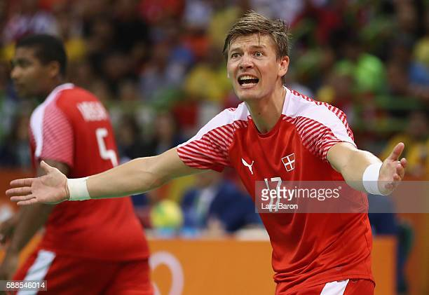 Lasse Svan of Denmark reacts during the Mens Preliminary Group A match between Denmark and Croatia at Future Arena on August 11 2016 in Rio de...
